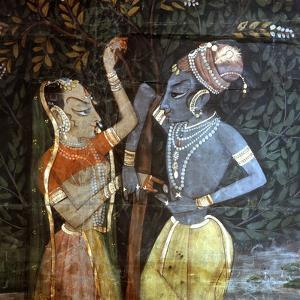 A Detail of a Wall Hanging, with a Scene from the Legend of Krishna