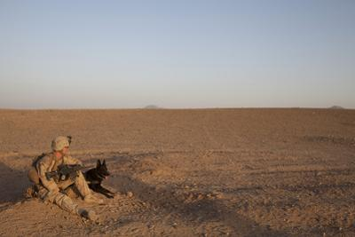 A Dog Handler with the U.S. Marine Corps Takes a Break
