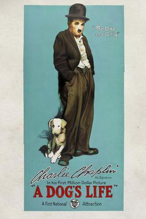 A Dog's Life Movie Charlie Chaplin Tramp Poster Print