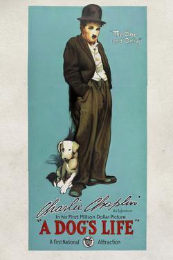 A Dog's Life Movie Charlie Chaplin Tramp Poster Print