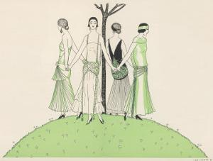 Four Ladies Holding Hands Wear Dresses Influenced by Ancient Egypt by A.e. Marty