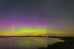 A Faint Aurora over Crawling Lake Reservoir, Bassano, Alberta, Canada