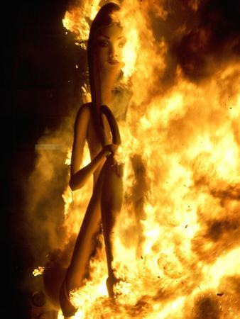 A Falla with Satirical Figures Burns During the Traditional Fallas Festival