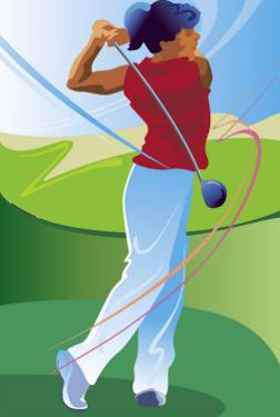 A Female Golfer on the Follow-Through of Driving a Ball