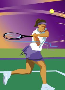 A Female Tennis Player Swinging at a Tennis Ball