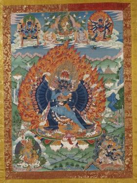 A Fine Tibetan Thang.ka Depicting Vajrabhairava with His 18 Legs and 36 Arms 18th Century