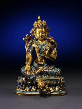 A Fine Very Rare Gilt-Bronze and Cloisonne Enamel Figure of Syamatara, Qianlong Period
