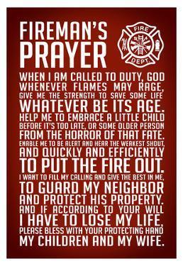 A Fireman's Prayer Art Print Poster