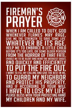 A Fireman's Prayer Plastic Sign