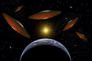 A Fleet of Flying Saucers Arriving at Earth in Preparation of an Attack Against Humanity