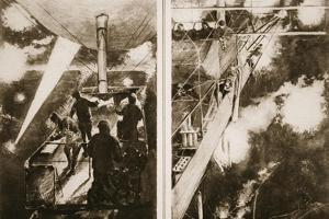 A French Airship's Night Attack: the Scene on the Navigating Platform