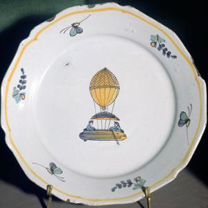 A French Faience Plate Depicting Jean-Pierre Blanchard's Balloon Trip