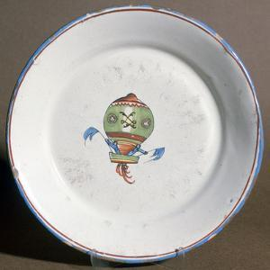A French Faience Plate with Aeronauts with Flags, 1785