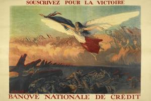 A French Propaganda Poster Showing a Woman Flying in the Air, Holding a Tricolor.
