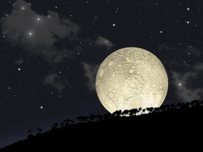 A Full Moon Rising Behind a Row of Hilltop Trees