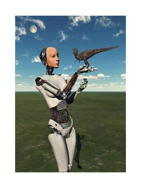 A Futuristic Android Holding a Baby Tyrannosaurus Rex in its Hands
