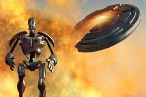 A Giant Robot and Ufo on the Attack
