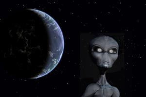 A Grey Alien with Planet Earth in the Background