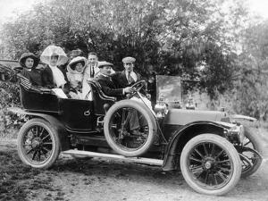 A Group of Men and Women Taking an Outing in a 1907 Mercedes, 1908