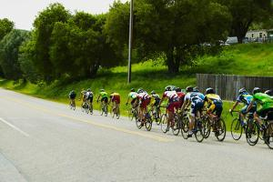 A group of road bicyclists traveling across highway 58 in CA