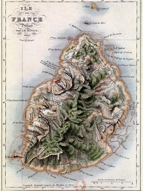"""Map of Mauritius, Illustration from """"Paul et Virginie"""" by Henri Bernardin de Saint-Pierre, 1836 by A.h. Dufour"""