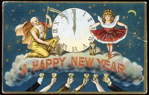 A Happy New Year Postcard with Father Time and a Young Girl