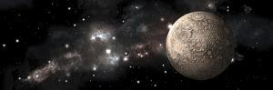 A Heavily Cratered Moon Alone in Deep Space