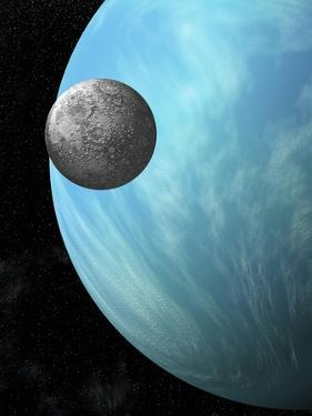A Heavily Cratered Moon in Orbit around a Water Covered Planet