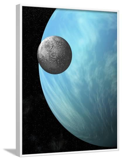 A Heavily Cratered Moon in Orbit around a Water Covered Planet--Framed Art Print
