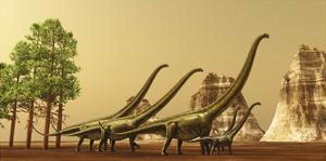 A Herd of Mamenchisaurus Dinosaurs Migrate to Better Feeding Ground