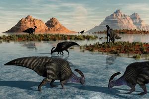 A Herd of Parasaurolophus Duckbill Dinosaurs Grazing