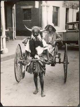 A Horned Rickshaw Man in Bulawayo, Southern Rhodesia (Now Zimbabwe)