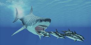 A Huge Megalodon Shark Swims after a Pod of Striped Dolphins