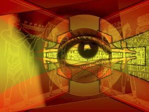 A Human Eye Superimposed on Hieroglyphics