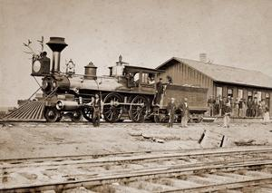Wyoming Station, Engine 23 on Main Track, May 1868 by A.J. Russell