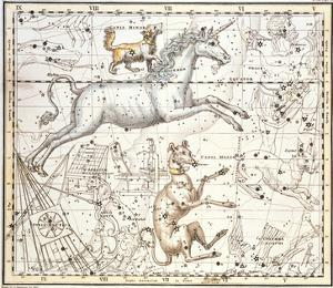Constellations of Monoceros the Unicorn, Canis Major and Minor from A Celestial Atlas by A. Jamieson