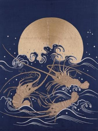 A Japanese Embroidered Textile Panel of Dark Blue Satin Depicting Three Crayfish Among Waves before