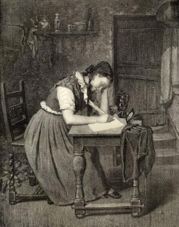 Swedish Peasant Woman Writing with a Quill