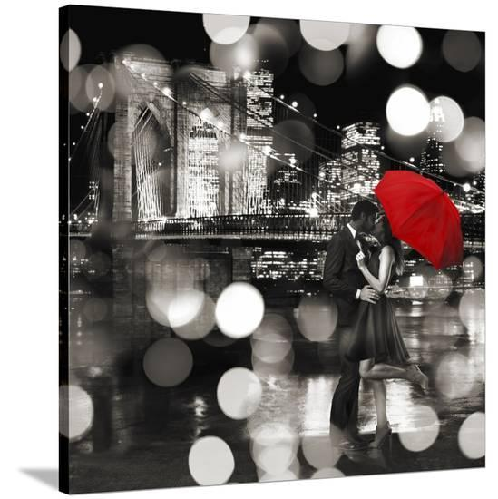 A Kiss in the Night (BW detail)-Dianne Loumer-Stretched Canvas Print