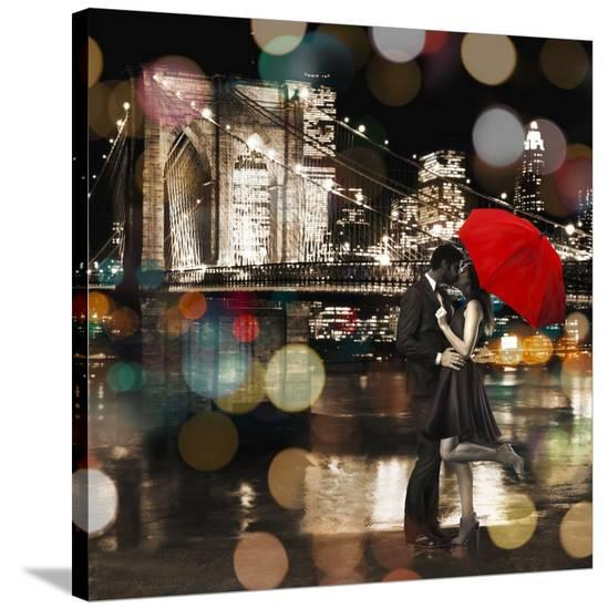 A Kiss in the Night (detail)-Dianne Loumer-Stretched Canvas Print