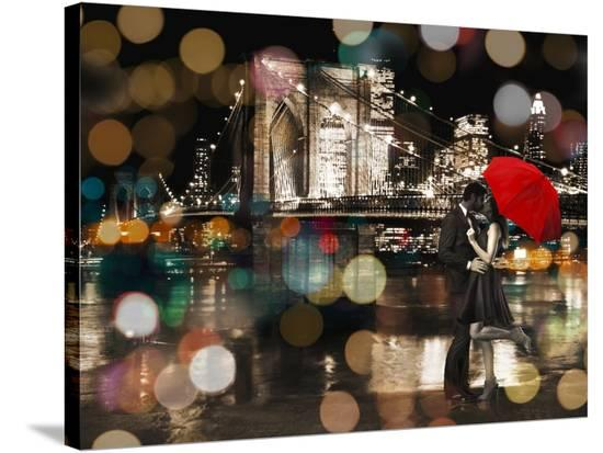 A Kiss in the Night-Dianne Loumer-Stretched Canvas Print