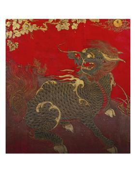 A Large Chinese Red Lacquered Wood Rectangular Panel Depicting a Seated Kylin with Head Turned to…