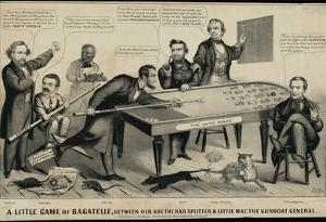A Little Game of Bagatelle Old Abe the Rail Splitter Political Cartoon Art Print Poster