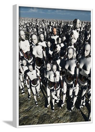 A Lone Android with a Human Flesh Colored Face Amongst a Crowd of Robots--Framed Art Print