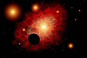 A Lone Planet Orbiting a Cluster of Red Giant Stars