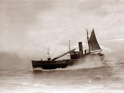 A Lowestoft Herring Boat Ploughing Through a Moderate Swell in the North Sea, 1935