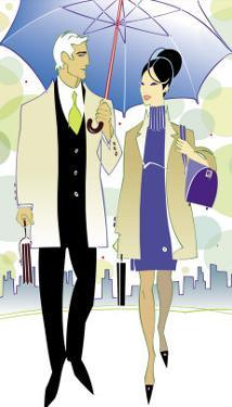 A Man and Woman Sharing an Umbrella as They Walk in the City