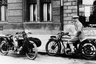 A Man on a Norton Bike, Model 16H 490CC SV, 1924