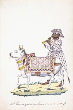 A Man with His Ox, C. 1825 (Pencil, Pen, Black Ink, W/C, on Whatman Paper)