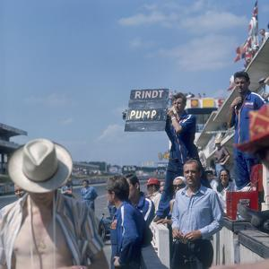 A Mechanic Holding Up a Sign, French Grand Prix, Le Mans, France, 1967